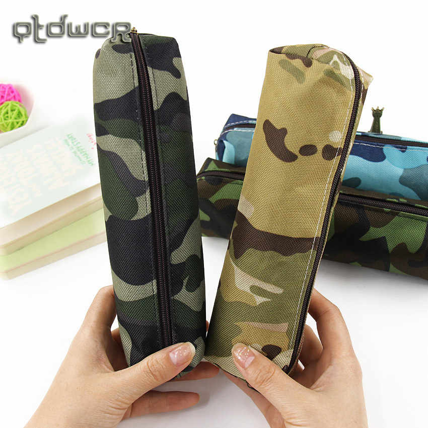 Hot Sale Boys and Girls Camouflage Pencil Case Canvas Pencil Bag School Supplies Stationery Box