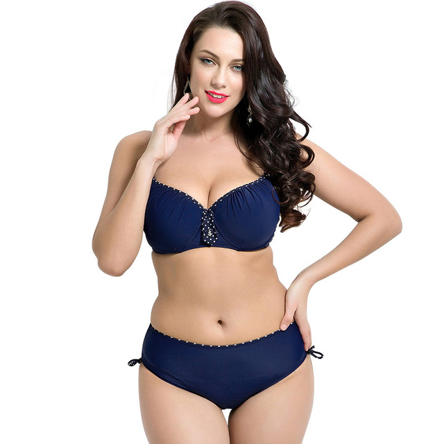 f689a26643 Fat Girl Wear Plus Size Bikini Set Bathing Suit Push Up Bikinis Women Large  Cup Bra