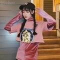 Harajuku Punky Mujeres Del Resorte de Dos Piezas Carta Imprimir Crop Top de Terciopelo de Cuello Alto de Manga Larga Camiseta de La Camiseta Superior