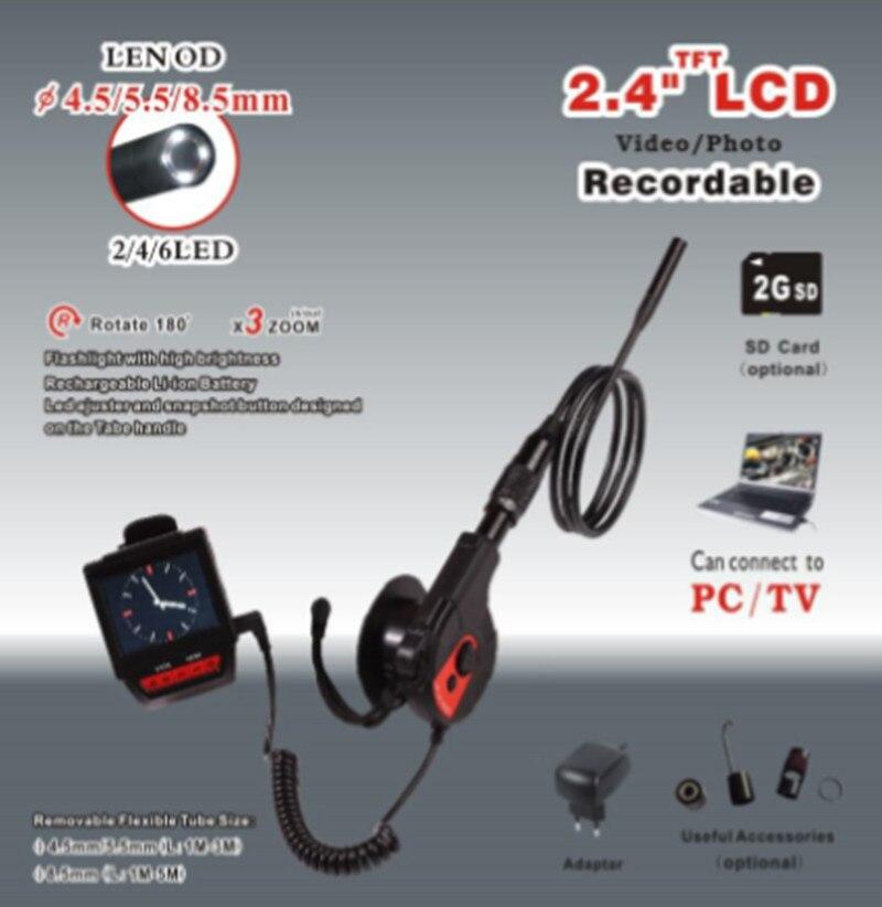 2.4 TFT LCD Monitor 3X Zoom 8.5mm AV Handheld Endoscope Image 180degree Rotation