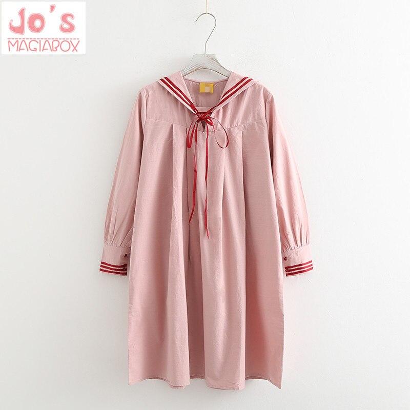 Japanese Dress Sailor Collar Lace Up Long Sleeve Dress Women Cute Lolita Harajuku Ball Grown Dresses Kawaii Miss Peregrine's