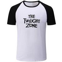Letter The Twilight Zone Print Blue Black Patchwork Short Sleeve T Shirt Men Fashion Fitness Boys