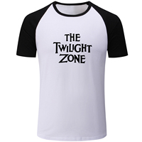 Letter The Twilight Zone Print Blue Black Patchwork Short Sleeve T Shirt Men Fashion Fitness Boys