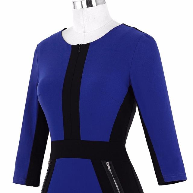 Women Dress Robe Women's 3/4 Sleeve Optical Illusion Bodycon Pencil Business Dress Cotton Blue Dress Jurken Slim Office Dress