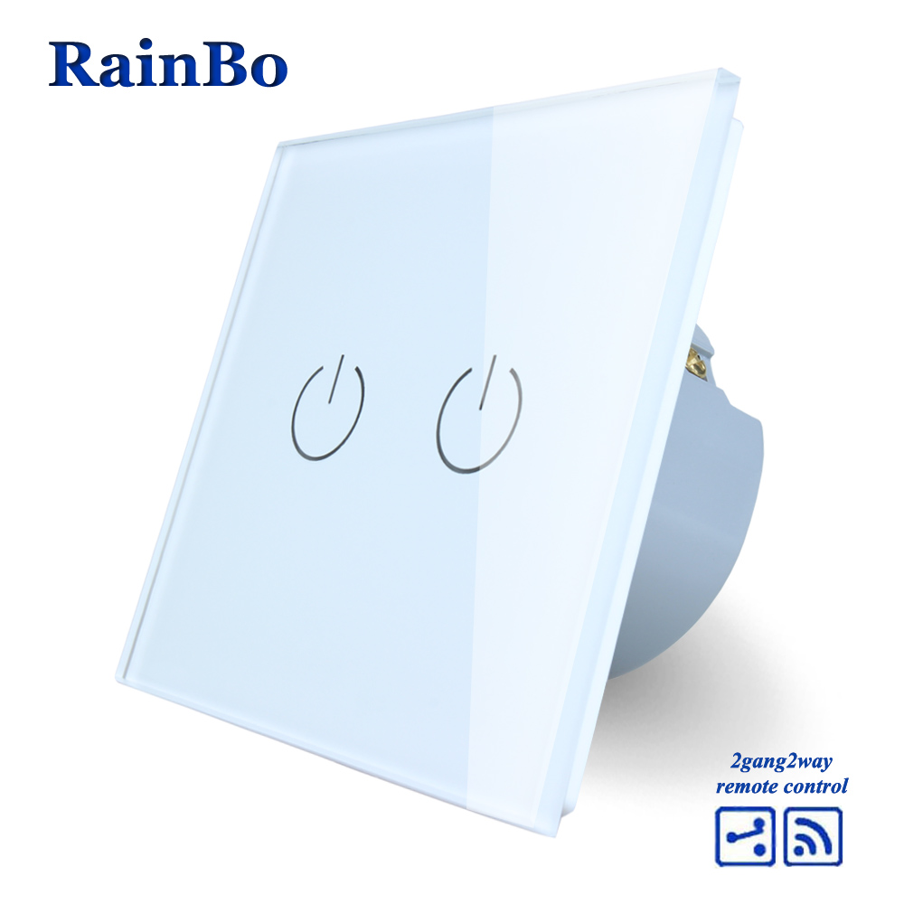 RainBo Touch Switch Screen Crystal Glass Panel wall light switch EU 110~250V Remote Wall Light Switch 2gang2way A1924W/B mvava 3 gang 1 way eu white crystal glass panel wall touch switch wireless remote touch screen light switch with led indicator