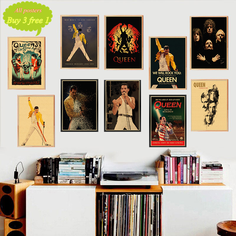 Queen Band Music Kraft Paper Poster Vintage Printing Drawing core Decorative Painting Wall Sticker image