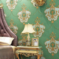 European Style 3D Embossed Non Woven Luxury Wallpaper Living Room Bedroom Pastoral Backdrop Home Decor Vintage