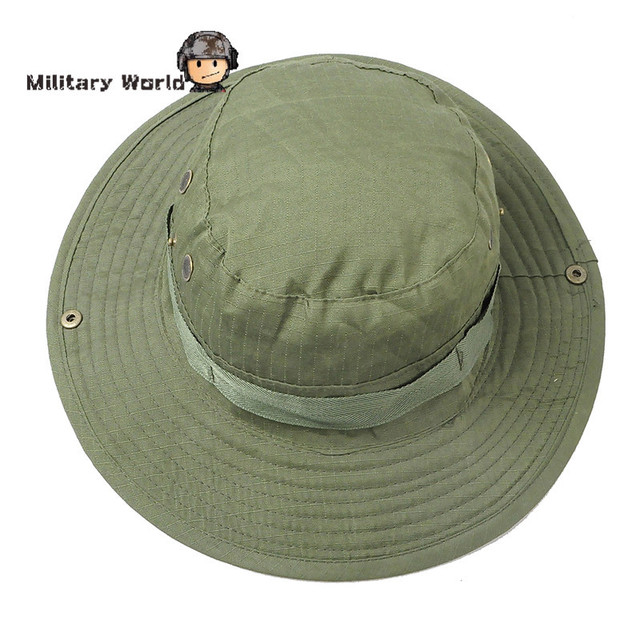 ebdaadb14fbf6 Airsoft Tactical Hunting Sun Hats Women Summer Beach Canvas Wide Brim  Boonie Hats Hiking Fishing Bucket Hat Cap For Men