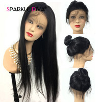 13*4 Lace Front Human Hair Wigs 10 24 inch 150% Middle Part Remy Brazilian Straight Human Hair Wigs Pre Plucked With Baby Hair