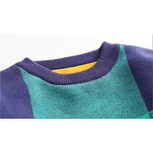 Image 5 - Chłopcy zimowy aksamitny sweter dzieci ciepłe pulowery pluszowe wewnątrz dzianinowe swetry kurtka luźna 4 13T nastoletnia chusta O neck swetry