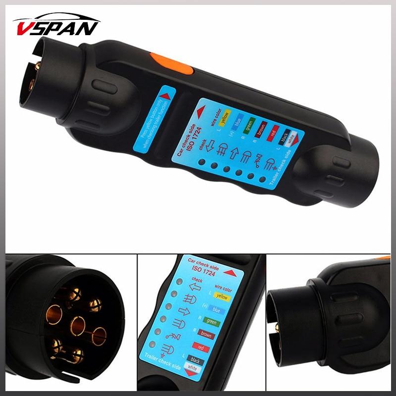 7 Pin Car Trailer Plug Socket 7 Pole Wiring Connector Tester 12V N ...