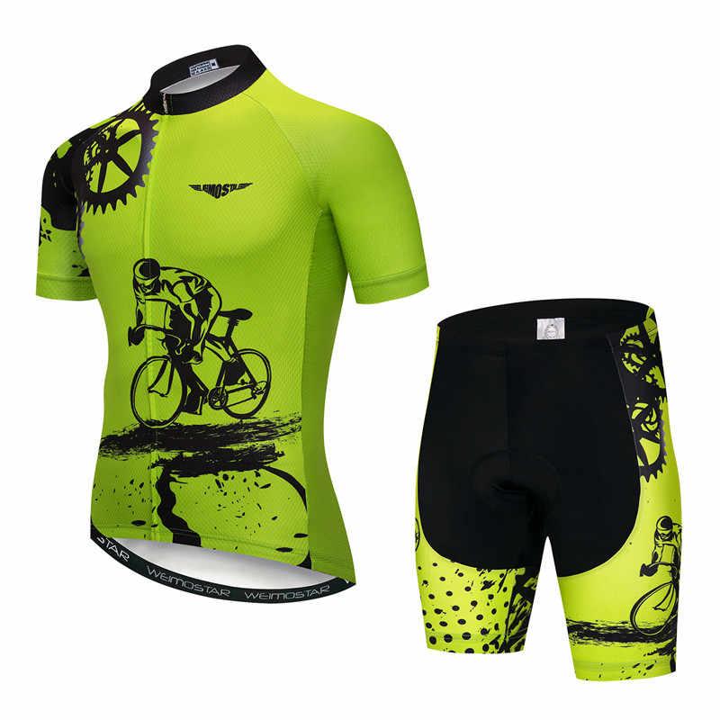 Weimostar 2019 רכיבה על אופניים ג 'רזי סט גברים קצר שרוול MTB אופני בגדי Ropa Ciclismo צוות Downhill אופניים ג' רזי מאיו Ciclismo