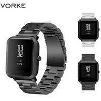 Vorke VKS1 Metallo di Ricambio In Acciaio Cinturino per Xiaomi Huami Amazfit Bip con Regolazione Sostituire Braccialetto Cinghie