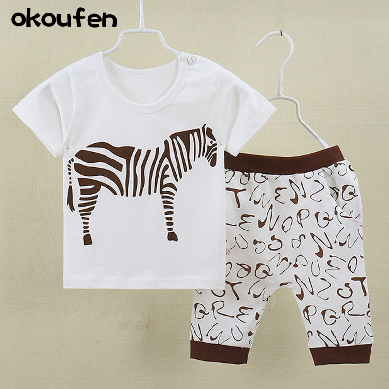 okoufen 2018 new summer baby boy clothes suit quality 100% cotton short sleeve tops shirt+shorts body suit kids clothing sets