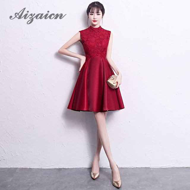 Modern Red Flower Qipao Chinese Traditional Dress Women Wedding Cheongsam Long Lace Bride Traditions Bridesmaid Dresses