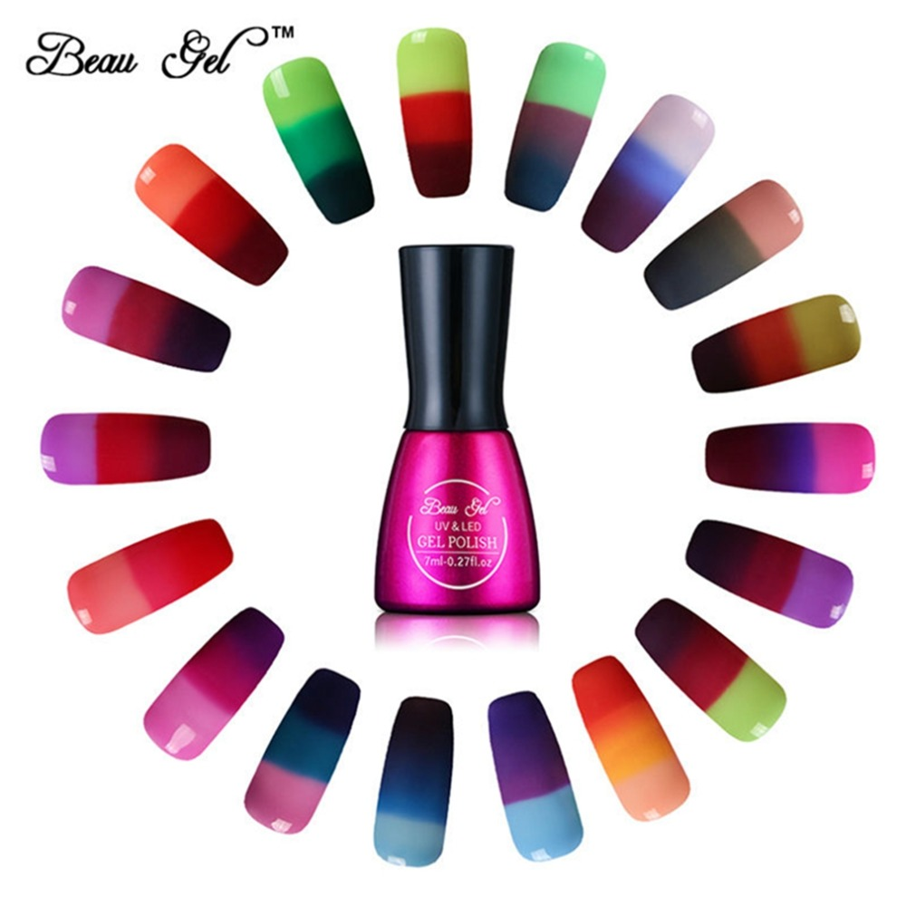 Beau Gel 7ml Gel Varnish Nail Gel Poland Chameleon Warna Suhu Menukar Kuku Poland Warna Terma Perubahan UV Gel Lacquer
