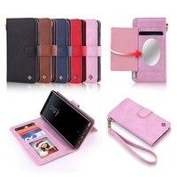 Luxury Wallet Case For Samsung Galaxy Note 8 Case Makeup Mirror Flip Card Case Slot Lady