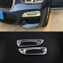 купить Car Accessories Exterior Decoration 2pcs ABS Chrome Front Fog Light Lamp Cover Trim For BMW X3 2018 Car Styling онлайн