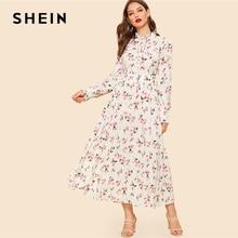 0b53bde364 SHEIN Abaya Beige Frill Cuff Neck Botanical Print Women Spring Stand Collar  Dresses