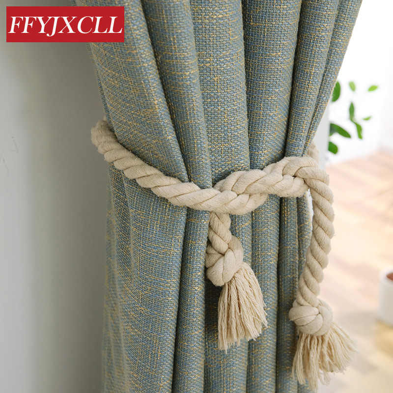 Cotton Linen Yarn Dyed Solid Color Blackout Curtains For Bedroom Living Room Window Thicken 80% Shading Curtains Modern