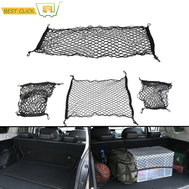 4PCS Cargo Net Mesh Hooks Storage Accessories For Subaru Forester 2009 2010 2011 2012-2017 Envelope & Floor & 2 Sides Trunk