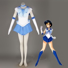 цена Athemis Anime  Sailor Moon Ami Mizuno / Sailor Mercury Cosplay Costume custom made Dress High Quality