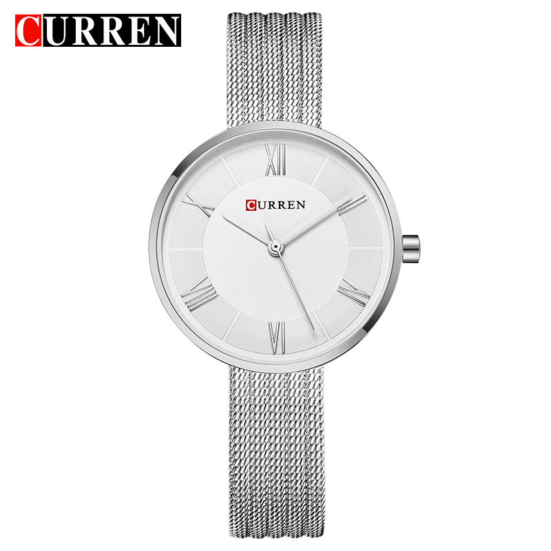 CURREN New Women Fashion Simple Style Quartz Watches Stainless Steel Band Wristwatch Waterproof Classic Ladies Clock Gift
