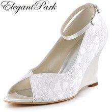 Mujer Zapatos de cuña Zapatos de tacón alto blanco marfil Peep Toe tobillo  correa de encaje 4754268db340