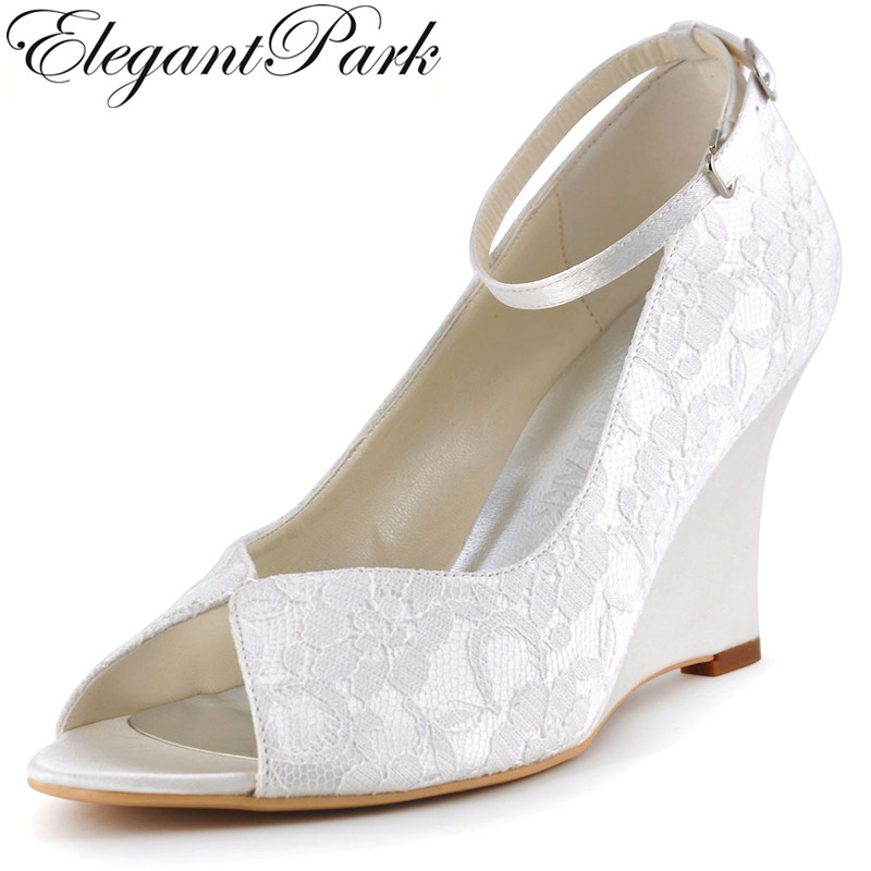 цена на Woman Wedge Shoes White Ivory High Heel Peep Toe Ankle Strap Lace Bridesmaids Bride Wedding Shoes Evening Prom Pumps WP1415