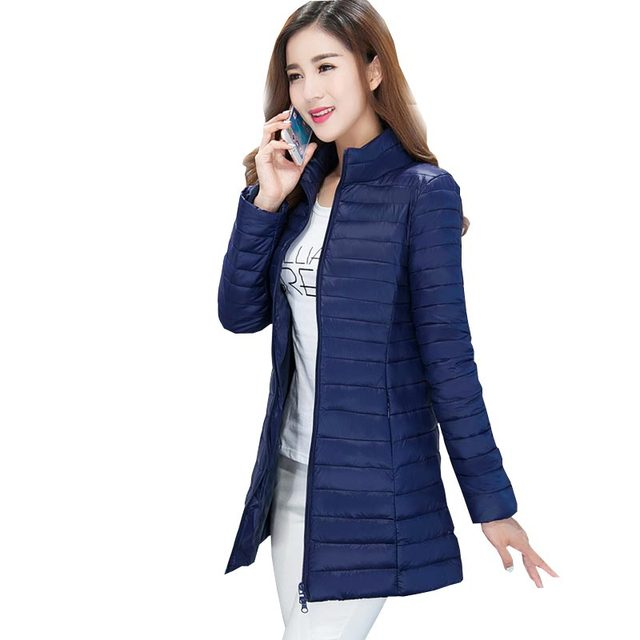 2016 nova médio longo amassado para baixo parka luz ultra fino fique colarinho fino mulheres jaqueta de inverno plus size casaco outerwear kp0724