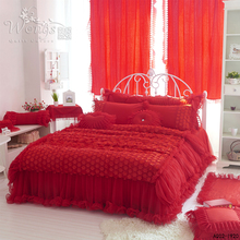 2016 Bedding Set Lace Adge Twin Queen Size Bed Quilt Covers Solid Red Color Fashion Dream Style Home Textile 3/4pcs Duvet Cover