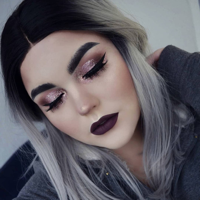 V Nice Grey Ombre Short Hair Full Head Bob Wig Straight Cosplay Synthetic Lace Front