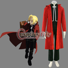 Fullmetal Alchemist Edward Elric Cosplay Costume Red Men Carnival Party Costumes Custom Made D0723