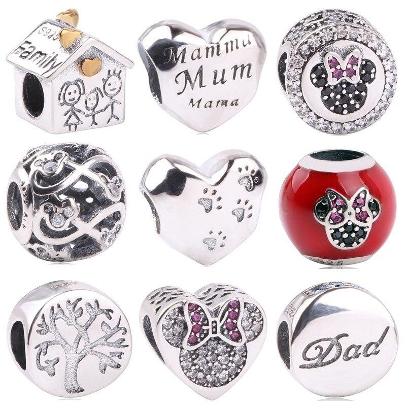 New Fashion Charm Love Bead 925 Sterling Silver Mum Bead Fit Pandora Original Bracelet Women DIY Jewelry