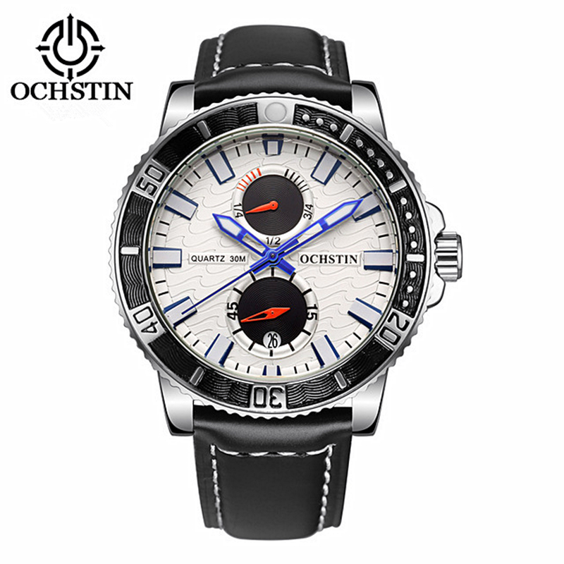 OCHSTIN Men Sport leather Watch 30M Waterproof Luxury Brand Quartz Watches Relogio masculino 2017 Clock male military Wristwatch fashion luxury waterproof analog men sport watch chronograph mens leather watches male clock quartz wristwatch relogio masculino