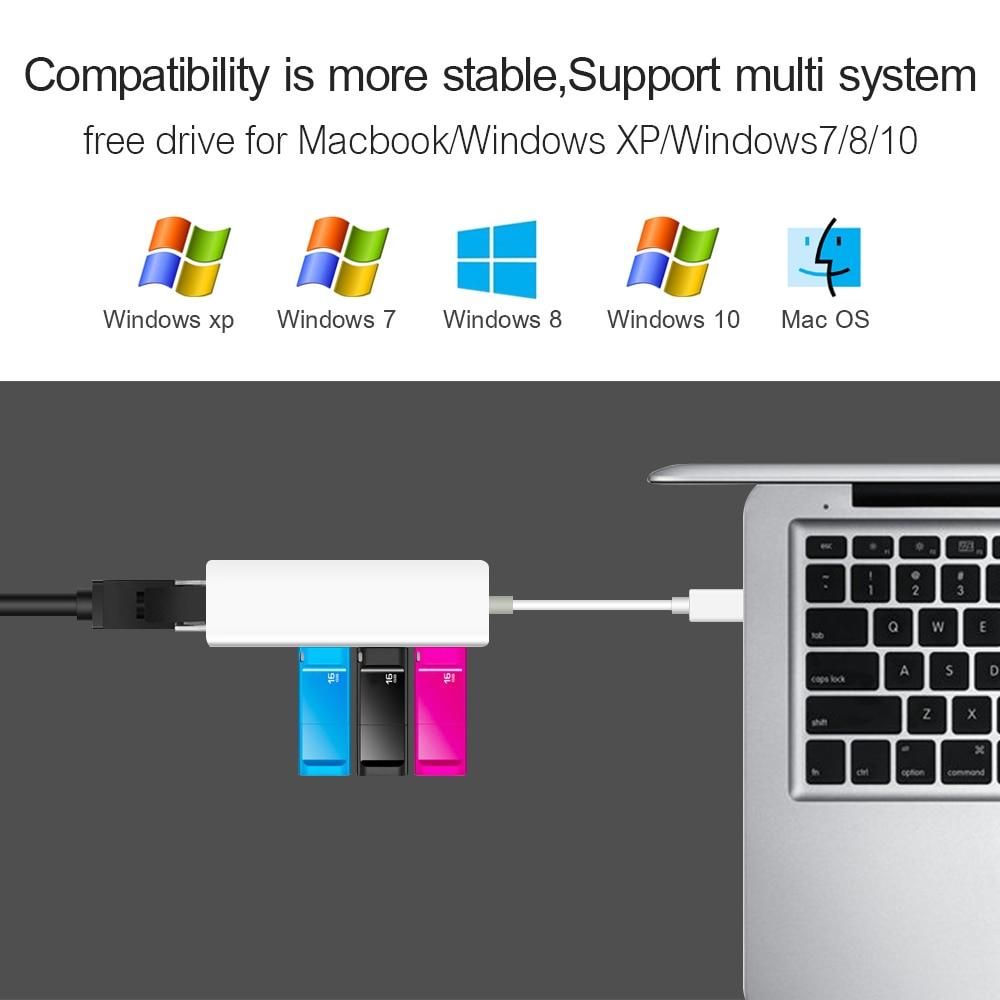 USB Ethernet con 3 puertos USB HUB 2.0 RJ45 Lan Tarjeta de red - Equipo de red - foto 2