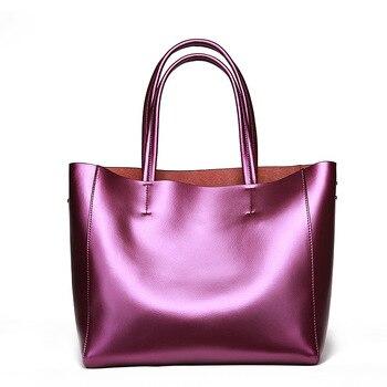 2020 Women's Shopping Bag Genuine Leather Calfskin Shoulder Bag Large Capacity Lady's Handbag Europe Fashion Style Shiny Bags