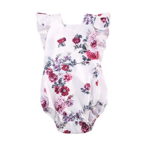 Newborn Bodysuit Floral Sleeveless Infant Bodysuits Onepiece Baby Overalls Summer Baby Girls Clothes
