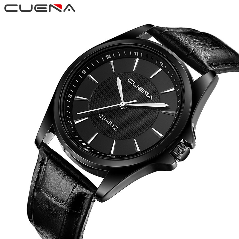 CUENA Men Quartz Watch Genuine Leather Wristwatches Male Fashion Casual Clock 30M Waterproof Relogio Masculino Mens Watches 6605 hot sale retro wood quartz wristwatches women casual cowhide genuine leather band watch relogio masculino clock female relojes