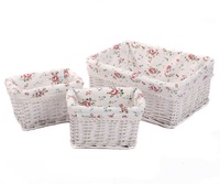 Kingwillow Woven Wicker Storage Baskets Bins Rectangular Containers Drawers Organizer Box