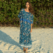 2019 beach holiday casual flower pattern dress printed fake two lotus leaf side dresses