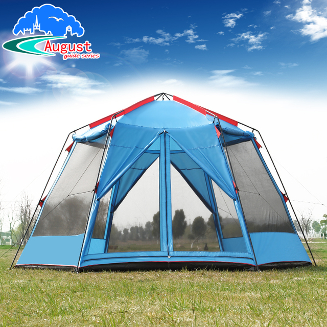 € 133.99 10% de réduction|UV camping En Plein Air hexagonale grande tente  sauvage camping tente camping 8 12 double imperméable moustique tente ...