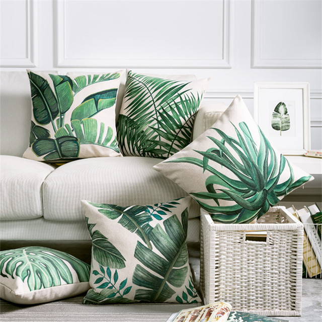 Cassa a Cuscino Copertura del Cuscino tropicale Verde Foglia di Tropicale Palm T