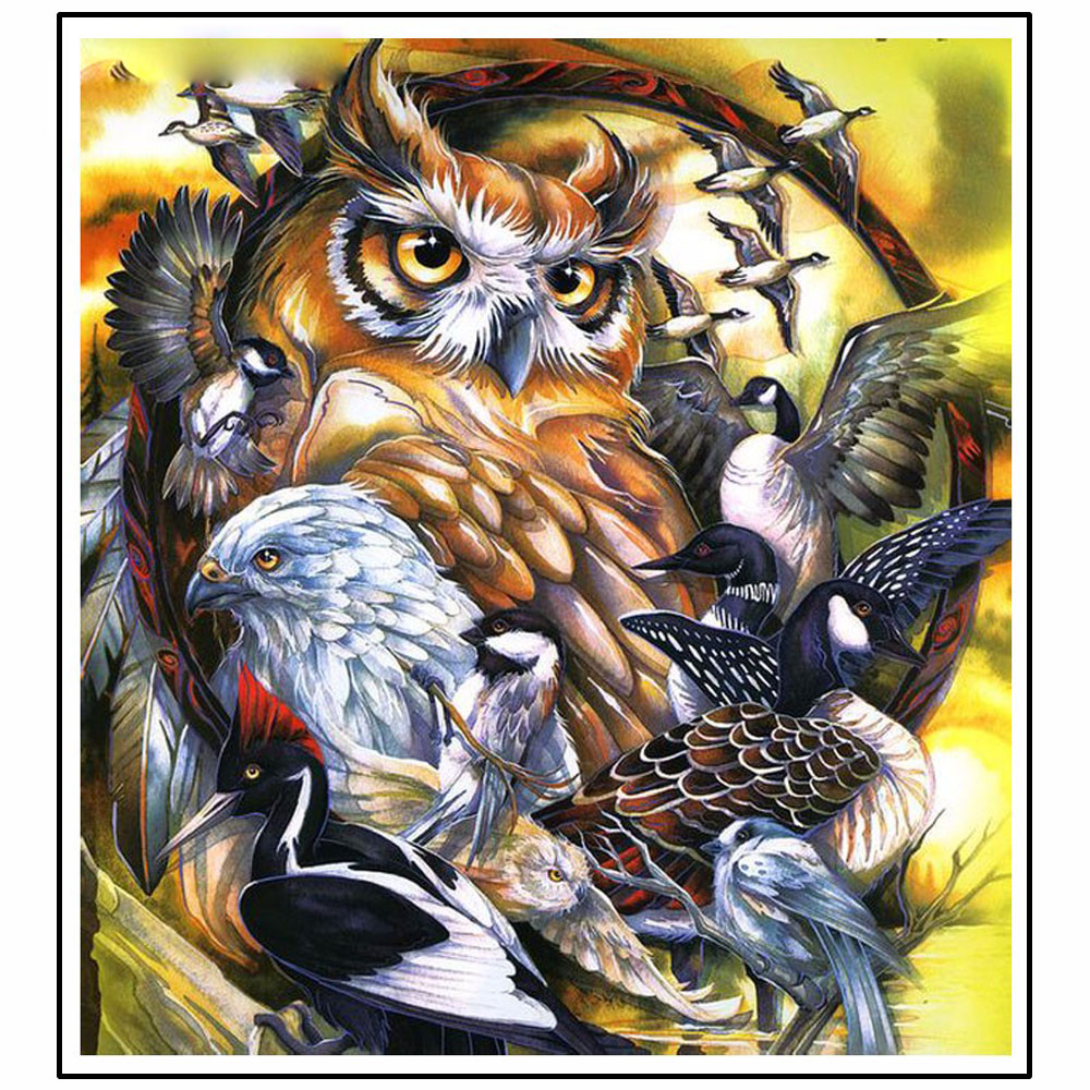3d diy diamond painting birds and owls 5d full diamond painting cross stitch animal needlework scenic