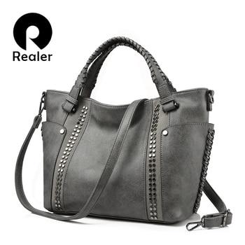 REALER brand fashion women handbag female casual tote bag solid ladies shoulder bag large capacity with Rivet and Ruched Сумка