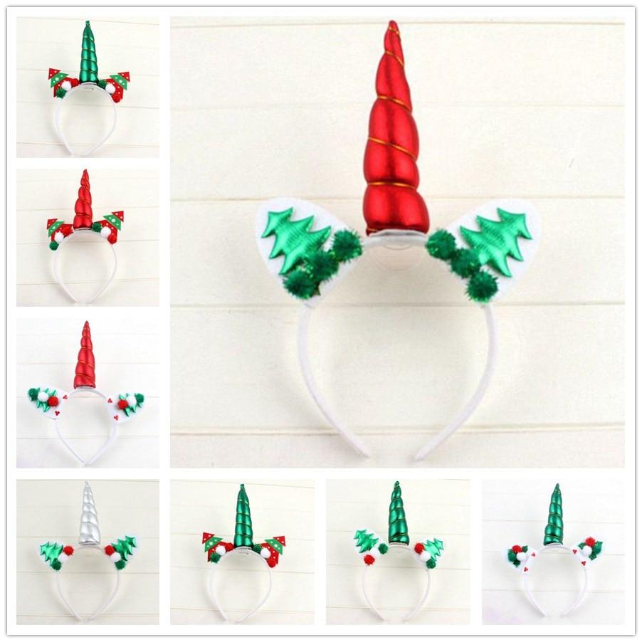 5pcs Glitter Unicorn Horns Headbands Girls Kids Christmas Unicorn