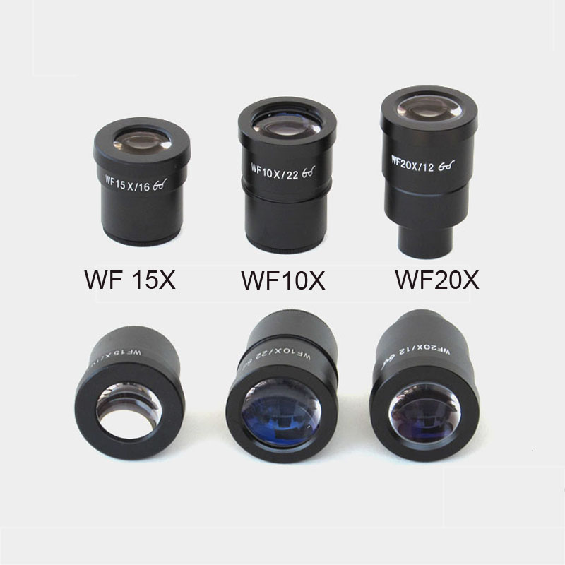 цена High Quality WF10X WF15X WF20X Stereo Microscope Eyepiece High Eyepoint Wide Angle Lens Mounting Size 30mm Metal with eyeguard