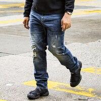 Men S Large Size Fat Jeans Elastic Straight Waist High Waist Leisure Loose Washed Blue Denim