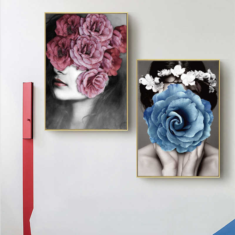 Abstract Flower Avatar Girl Printed Canvas Painting Wall Art Prints Modern Style Cuadros Poster Modern Home Decoration Photo pop