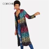 COLROVIE Sequin Open Front Sexy Kimono Vintage Cardigan Ladies 2018 Autumn Night Out Long Sleeve Women Kimono Blouse